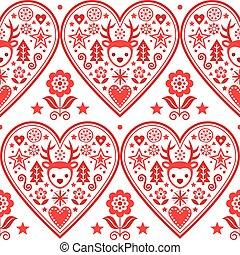 ontwerp, kunst, kerstmis, hart, rendier, bomen, snowflakes, folk-music, stijl, textiel, kerstmis, model, vector, seamless, -, bloemen, scandinavische