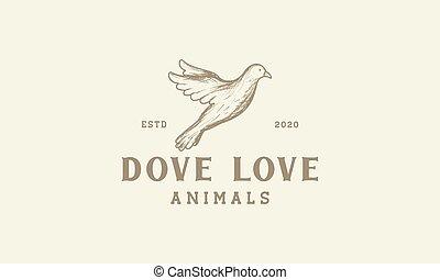ontwerp, lijn, logo, vlieg, ouderwetse , vector, illustratie, duif, gegraveerde, pictogram
