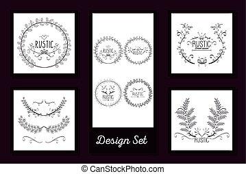ontwerp, lijstjes, rustiek, set, floral