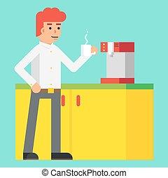 ontwerp, machine, vrolijk, vector, karakter, het stimuleren, morgen, achtergrond, drank, pictogram, mal, koffie, modieus, mannelijke , plat, illustratie