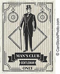 ontwerp, mal, van, retro, poster, voor, heer, club