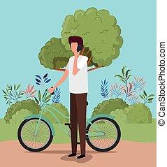 ontwerp, man, fiets, vector