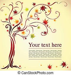 ontwerp, met, decoratief, boompje, van, kleurrijke, herfst, vellen