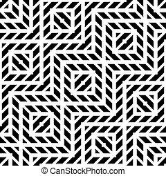 ontwerp, monochroom, seamless, geometrisch patroon