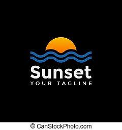 ontwerp, ondergaande zon , mal, logo, zomer, reizen, strand