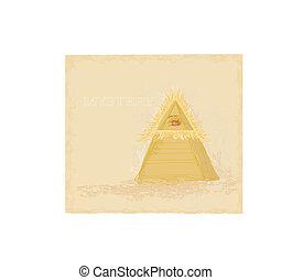 ontwerp, oud, oog, piramide