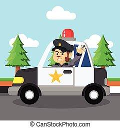 ontwerp, patrouille, aap, illustratie, politie