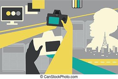 ontwerp, photojournalism, illustratie, handen