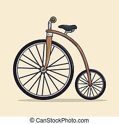 ontwerp, pictogram, vrijstaand, fiets, ouderwetse