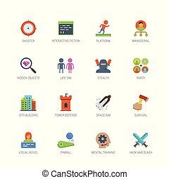 ontwerp, plat, genres, set, iconen, stijl, spel, vector, video, #2