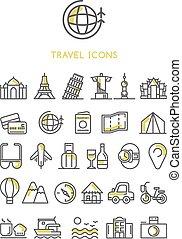 ontwerp, reizen, vector, set, iconen