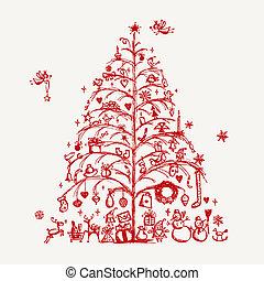 ontwerp, schets, boompje, jouw, kerstmis