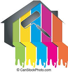 ontwerp, schilderij, huisen