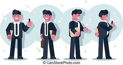 ontwerp, set, karakter, zakenlieden, spotprent