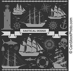 ontwerp, set, schepen, elements., nautisch