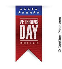 ontwerp, spandoek, dag, illustratie, veteranen