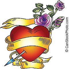 ontwerp, spandoek, lint, liefde