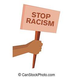 ontwerp, spandoek, stoppen, vector, racisme
