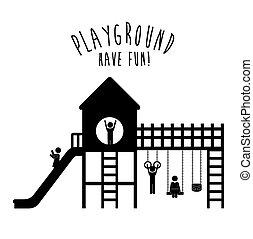ontwerp, speelplaats, illustration.