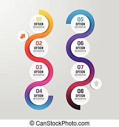 ontwerp, stap, spandoek, opties, infographics