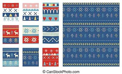 ontwerp, stijl, vector, seamless, noords, kerstmis, patterns.