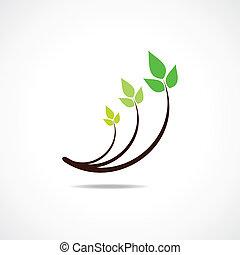 ontwerp, symbool, blad, groene, logo
