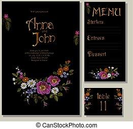 ontwerp, template., bloem, roos, rustiek, akker, black , borduurwerk, gevolg, madeliefje, illustratie, wild, herbs., trouwfeest, floral, gerbera, kaart, groet, vector, huwelijk, menu, uitnodigingskaarten, tafel.