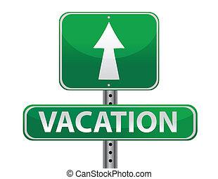 ontwerp, vakantie, illustratie, meldingsbord
