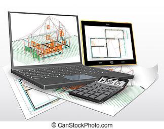 ontwerp, van, de, de bouw.