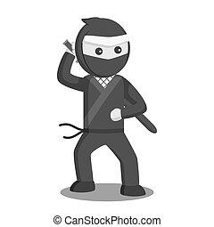 ontwerp, vector, katana, illustratie, ninja