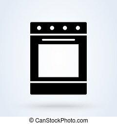 ontwerp, vector, pictogram, moderne, stove., eenvoudig, ...