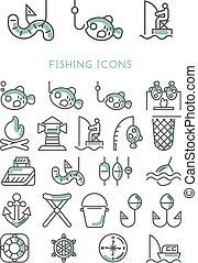 ontwerp, vector, set, visserij, iconen