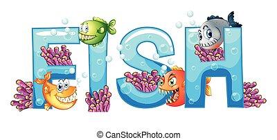 ontwerp, visje, lettertype, woord