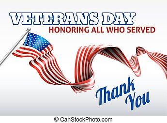 ontwerp, vlag, veteranen, amerikaan, dag