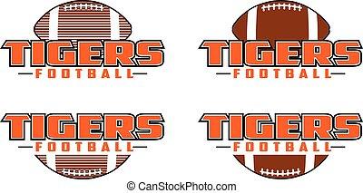 ontwerp, voetbal, tijgers