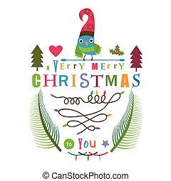 ontwerp, vogel, groet, kerstmis