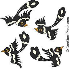 ontwerp, vogel, spotprent