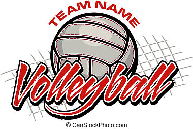 ontwerp, volleybal, team