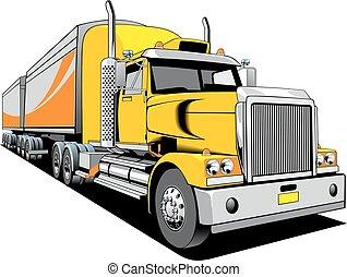 ontwerp, vrachtwagen, origineel, mijn