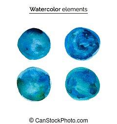 ontwerp, watercolor, blauwe , element