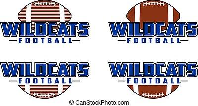 ontwerp, wildcats, voetbal
