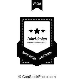 ontwerp, witte , black , etiket