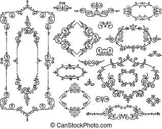ontwerp, witte , communie, ornament, black