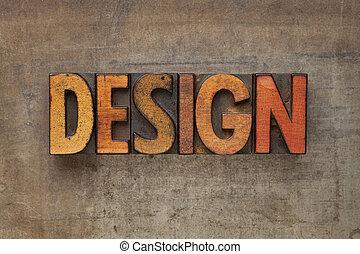 ontwerp, woord, in, letterpress, type