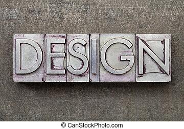 ontwerp, woord, in, metaal, type