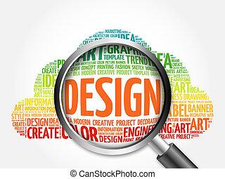 ontwerp, woord, wolk