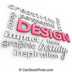 ontwerp, woorden, collage, creatief, perspectief, stijl
