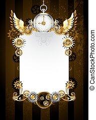 ontwerp, zilver, klok