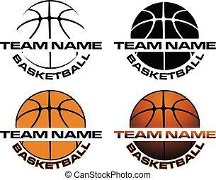 ontwerpen, basketbal, naam, team