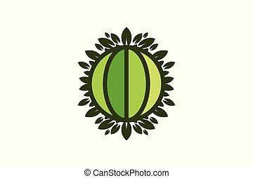 ontwerpen, blad, wereldbol, vrijstaand, groene achtergrond, aarde, logo, witte , sparen, inspiratie